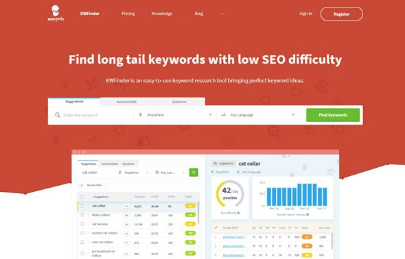Kwfinder for keyword research