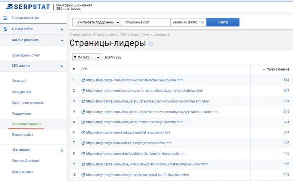 Посмотреть популярные страницы в Serpstat