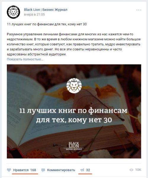 Популярные посты ВКонтакте