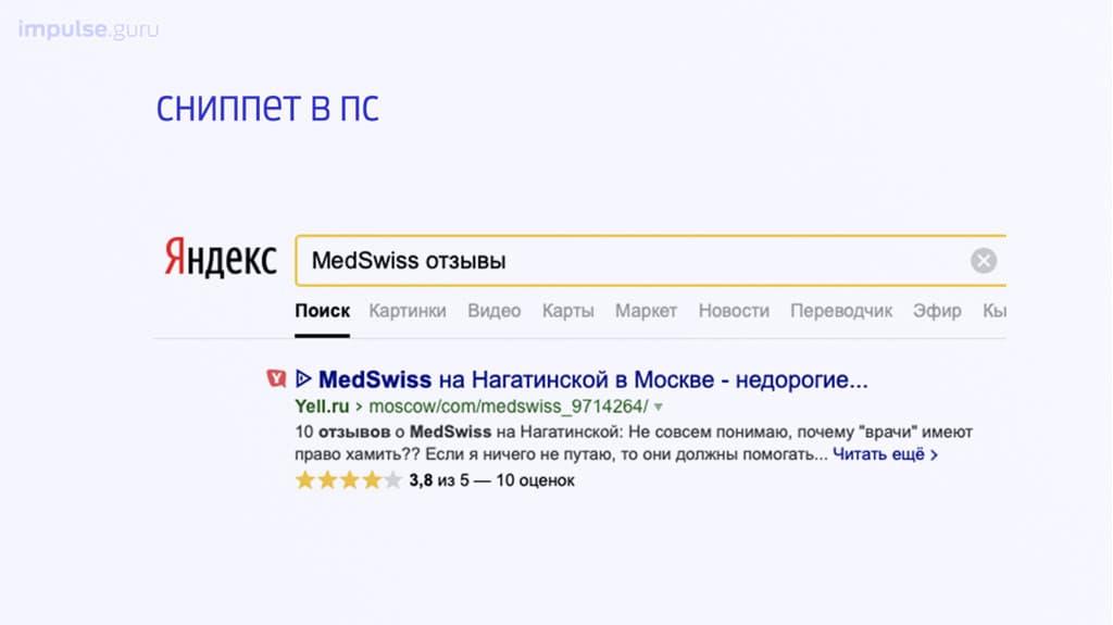 Клиника MedSwiss в поисковой выдаче.